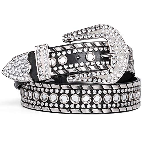 Rhinestone Belt for Women SUOSDEY Western Cowgirl Bling Studded Leather Belt for Jeans Pants,Black,S