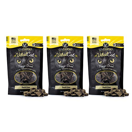 Vital Cat Duck Liver All-Natural Treats - Delectable Raw Nutrition for All Ages - Made in USA - Grain Free - Low Calorie for Healthy Weight 0.9 oz Resealable Bag - 3 Pack