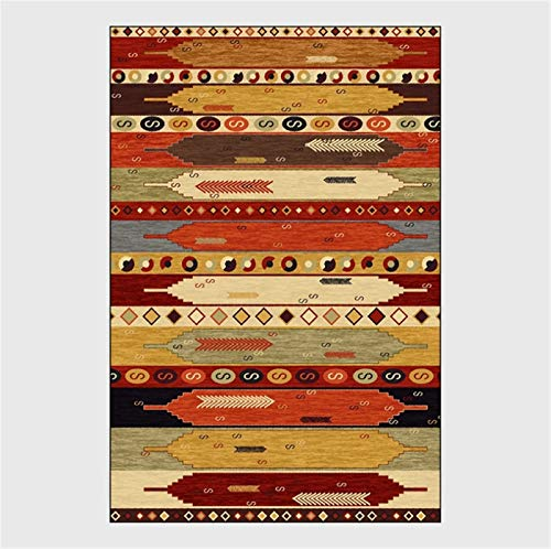 artkingdom Alfombra Moderna y Duradera, Alfombra de Sala de Estar Gruesa y Suave, Tiras rectangulares Coloridas abstractas, tamaño 80 * 160 cm