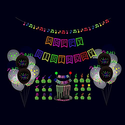 WINBST Glow Neon Birthday Party Supplies, 65 Pieces Glowing Party Accessories, Neon Star and Circle Dots Paper Garland Banner Hanging Decorations