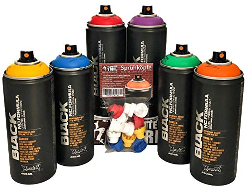 klamottenstore Sprühdosen Montana Rainbow Color Graffiti Box Einsteiger-Set Regenbogen Farben + Ersatzsprühköpfe Dekoration Hobby Handwerk Spray Can Art Nitro Acryl Lack 6x400ml