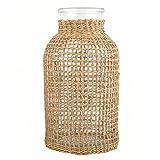Happyyami Florero de mimbre de vidrio de escritorio florero de ratán jarrón tejido de flores cesta de vidrio de agrass marinero tejido florero arreglo mesa centro