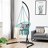 <span class='highlight'>COSTWAY</span> Hammock <span class='highlight'>Swing</span> <span class='highlight'>Chair</span> with Soft Cushion, Hanging Cotton Rope Macrame <span class='highlight'>Chair</span>s Tassels <span class='highlight'>Swing</span> Seat for <span class='highlight'>Outdoor</span> & Indoor <span class='highlight'>Garden</span> Balcony Living Room (Turquoise)