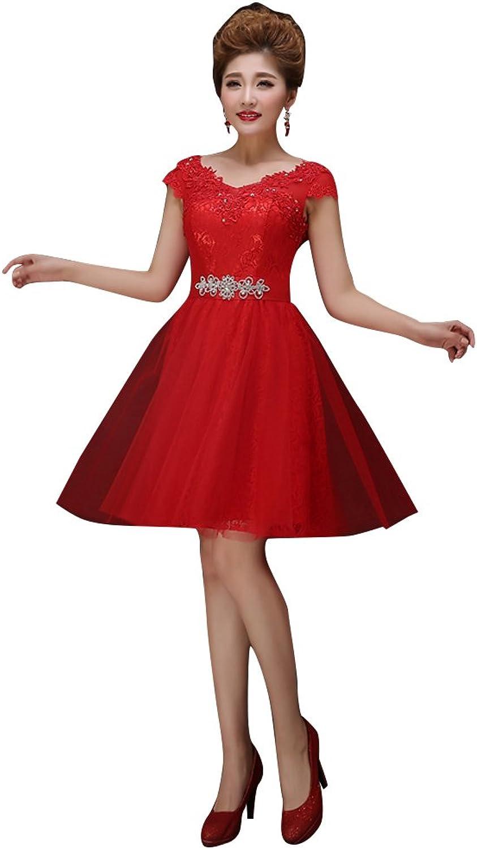 BeautyEmily Lace Applique Cap Sleeve Rhinestone Bridesmaid Dress Red