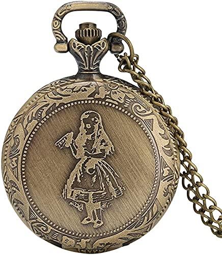 DNGDD Reloj de Bolsillo Exquisito Reloj de Bolsillo con diseño de niña pequeña para Mujer, prácticos números arábigos, Relojes de Bolsillo de Cuarzo para Mujer, cómodo Reloj Colgante de Cadena del
