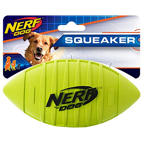 Nerf Dog Rubber Football Dog Toy with Squeaker, Lightweight, Durable and Water Resistant, 7 Inch Diameter for Medium/Large Breeds, Single Unit, Green, Model:6997