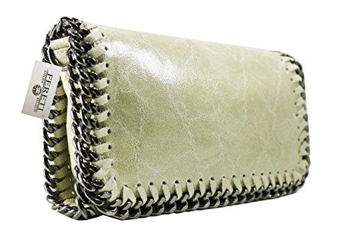 FERETI bolso Beige clara de cuero bandolera con cadena