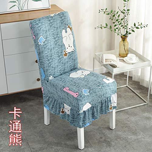BoxJCNMU - Funda de silla con falda, color amarillo y azul marino, lavable para sala de estar gris oscuro