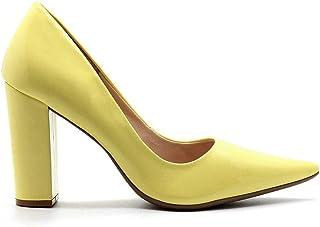 Scarpin Royalz Verniz Salto Grosso Alto Penélope Amarelo