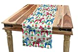 Ambesonne Horses Table Runner, Classic Swedish Dalecarlian Coral Azure Blue Animals and Green Floral Arrangement, Dining Room Kitchen Rectangular Runner, 16' X 90', Pink Blue