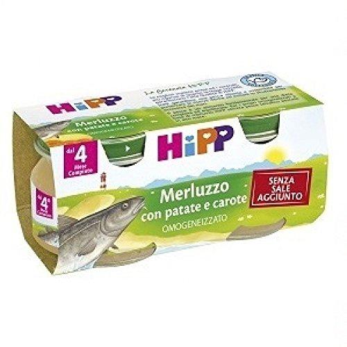 hipp biologico omogeneizzato merluzzo con patate e carote 2x80 gr 4 mesi +