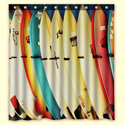 KXMDXA Custom Colorful Surfboard Waterproof Polyester Fabric Bathroom Shower Curtain with Ringstandard Size 60 X72 Inches