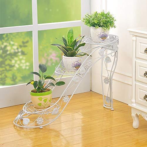 MA Flower F-U-N Eisenblumenregal Bodenständer Im Europäischen Stil - High Heel-Typ, Bonsai-Rahmen Für Wohnzimmermöbel, 3 Schichten (LxBxH) 66x25x54cm (Farbe : Weiß)