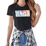 DREAMING-Camiseta de Manga Corta Informal para Primavera y Verano para Mujer L
