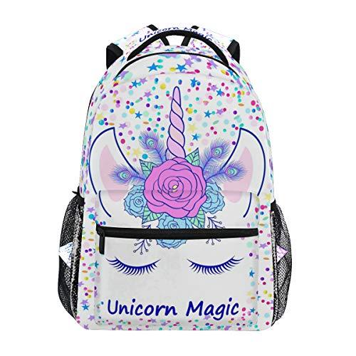 Mochilas de unicornio para escuela, color rosa, crema, con estrella mágica, para niños, adolescentes y niños pequeños, mochila de viaje
