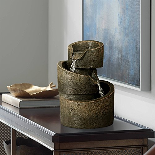 John Timberland 3-Tier Bronze Stone Contemporary 9 3/4' H Tabletop Fountain