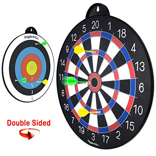 GIGGLE N GO Reversible Magnetic Dart Board for Kids -Fun Kids Game on Each Side, Just Turn It Around and Play Lots of Different Fun Games. (Bullseye Theme)