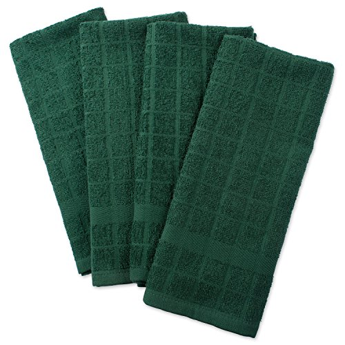"""DII Cotton Terry Windowpane Dish Towels, 16 x 26"""" Set of 4, Machine Washable and Ultra Absorbent Kitchen Bar Towels-Solid Dark Green"""