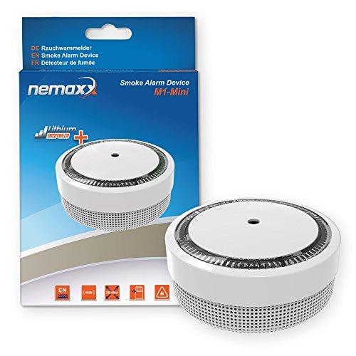 1x Nemaxx Rilevatore du fumo M1-Mini sensibilità fotoelettrica- con batería al litio tipo DC3V - conforme la norma DIN EN14604 & VdS - bianco
