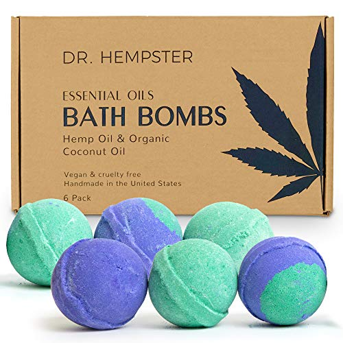 Natural Bath Bomb Gift Set - Hemp Bath Bombs with Organic Coconut Oil, Shea Butter, Refreshing...