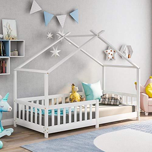 Kinderbett Hausbett aus Kiefer Holz 90 x 200 cm mit Rausfallschutz Stabiles Haus Bett für Mädchen & Jungen (ohne Matratze) (Weiß 90 x 200 cm)