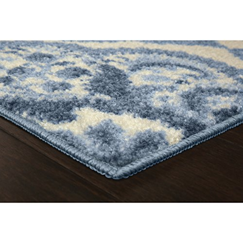 Maples Rugs Vivian Medallion Kitchen Rugs Non Skid Accent Area Carpet [Made in USA], 1'8 x 2'10, Blue
