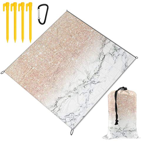 ClownFish Modern Faux Rose Gold Pink Glitter Ombre White Mar Portable Lightweight Waterproof Sandproof Pocket Beach Picnic Blanket Picnic Mat and for Outdoor Travel Camping Hiking