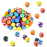 Oopsu 100 Pcs 18mm High Bouncing Balls, Assorted Colorful Rubber Balls, Mini Swirl Bouncing Balls Bouncing Balls Bulk Kit