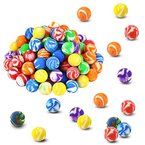 Oopsu 100 Pcs 18mm High Bouncing Balls, Assorted Colorful Rubber Balls, Mini Swirl Bouncing Balls...