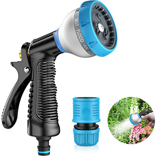 AOKEY Gartenbrause, Garten Handbrause Einhandbedienung,9 SprühModi, Multifunktion Wasserpistole für Autowäsche, Gartenbewässerung, Haustier Wasche