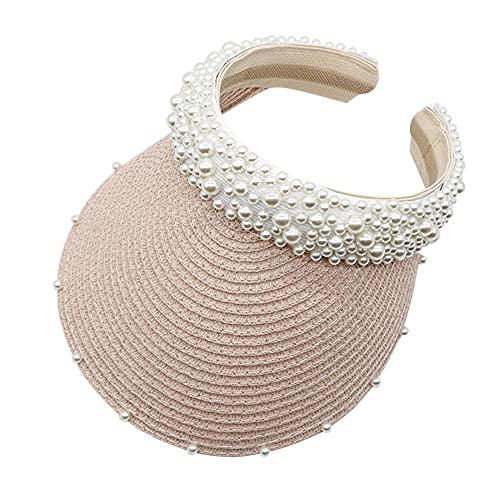 Serrale Sombrero de Sol deVerano para Mujer, Sombrero con Diadema de Perlas, Visera de Rafia, Gorras para Sombreros de Playa, Gorra Trenzada de Moda de Verano para Mujer-C_