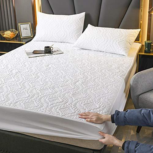 FJMLAY Sábanas ajustablesExtra Suave,Sábanas Acolchadas Impermeables para Cama, Protector de Alfombra Antideslizante para apartamento de Dormitorio-White_180cmx200cm