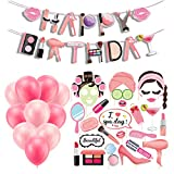 46 Pack Spa Party Decorations Set, PartyBloom Spa Makeup Party Supplies with Spa Photo Booth Props,Balloons,Happy Birthday Banner for Girls Spa Party Decorations