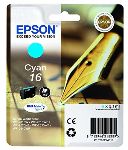 Epson Original 16 Tinte Füller (WF-2630WF WF-2650DWF WF-2660DWF WF-2750DWF WF-2760DWF, Amazon Dash Replenishment-fähig) cyan