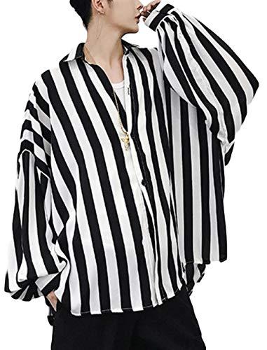 BeiBang(バイバン) メンズ 長袖シャツ ゆったり ストライプシャツ ストリート オーバーサイズ トップス 秋 オーバーシャツ(黒)