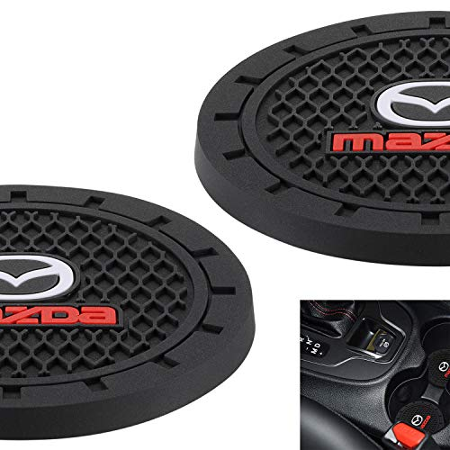 AOOOOP Car Interior Accessories for Mazda Cup Holder Insert Coaster - Silicone Anti Slip Cup Mat for Mazda 3 6 CX-3 CX-5 CX-9 MX-5 (Set of 2, 2.75' Diameter)
