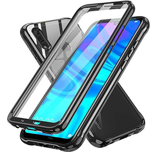LeYi Funda para Huawei P Smart 2019 /Honor 10 Lite con Protector de Pantalla Integrado, 360 Carcasa Armor Silicona TPU Gel Bumper Hard PC Ultra-Fina Antigolpes Case para Movil P Smart 2019,Negro