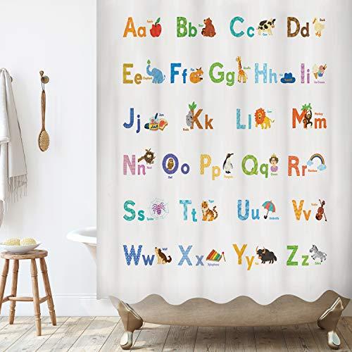 BASHOM BSC608 ABC Lernen Alphabet Duschvorhang Set für Kinder Wasserdichtes waschbares dekoratives Badezimmer 180x180cm (71