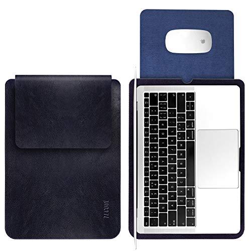 TECOOL 13 Pulgadas Funda Portátil, Funda de Cuero Protectora Bolsa Ordenador Laptop Sleeve para MacBook Air 13 / MacBook Pro 13.3 Retina, 13.5 Surface Laptop, MateBook D 14, DELL XPS 13 - Azul Oscuro