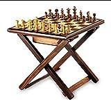 Crafting with Love - Mesa de ajedrez de madera hecha a mano, plegable, con caja de almacenamiento (12 pulgadas) en multicolor, mesa de ajedrez para torneos