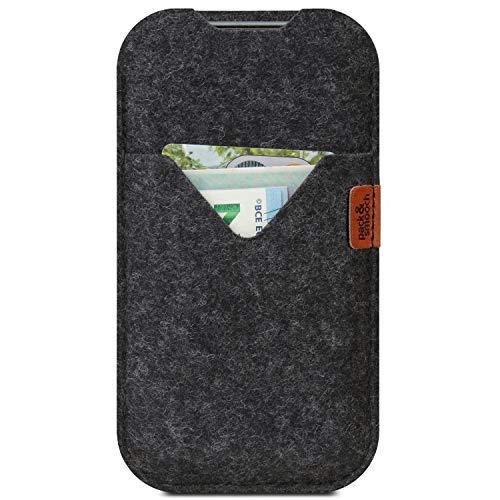 Pack und Smooch Hülle für iPhone 13 Pro / 13 / iPhone 12 Pro / 12 Tasche Shetland 100prozent Merino Wollfilz, Handmade in Germany - Anthrazit