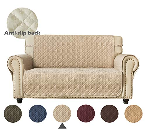 Ameritex Loveseat Cover Water-Resistant Quilted Furniture Protector with Back Nonslip Paws Slipcover for Dogs, Kids, Pets Loveseat Slipcover Stay in Place for Leather (46', Beige)