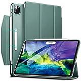 ESR iPad Pro 11 ケース 2020 オートスリープ ウェイク Apple Pencil 2 ワイヤレス充電対応 軽量 留め具付き イッピー三つ折りスマートケース iPad Pro 11インチ 2020用ハード背面カバー グリーン