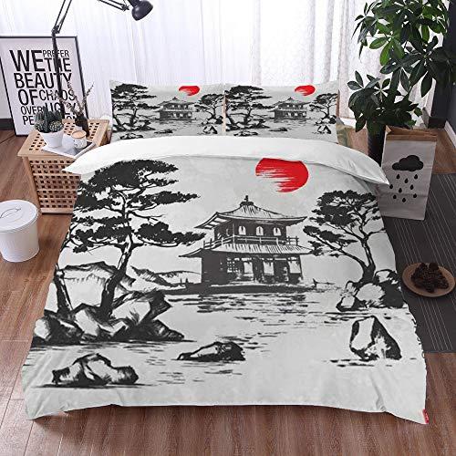 Qinniii Bedsure Funda Nórdica,Acuarela Japonés Ginkakuji Silver Pavilion Kyoto Japón Sketch Jeroglífico Cita Armonía Vintage,Fundas Edredón 135 x 200 cmcon 1 Funda de Almohada 40x75cm