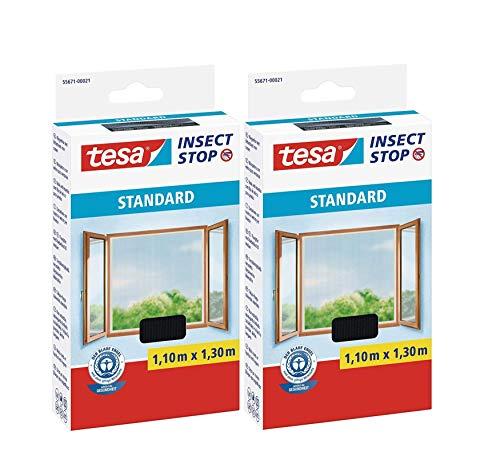 tesa Insect Stop Standard Fliegengitter für Fenster - Insektenschutz zuschneidbar - Mückenschutz ohne Bohren - 2 x Fliegen Netz anthrazit - 110 cm x 130 cm