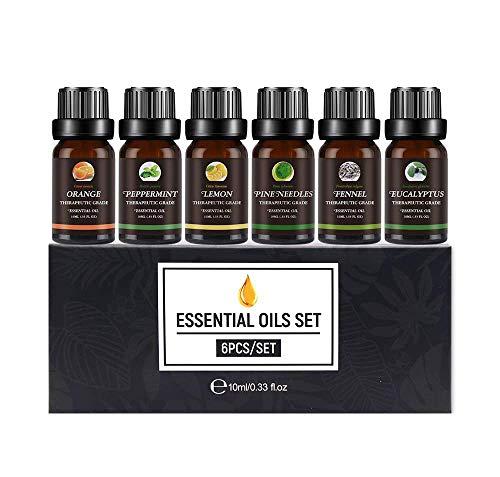 Set de Aceites Esenciales,100% Natural Puro Aromaterapia Aceite Aromátic,Eucalipto, Menta, Naranja dulce, Agujas de pino, Limón, Hinojo,Para Humidificador y Difusor Aroma,relajarse,Aromaterapia, Spa