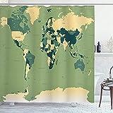 Tierra Cortina de DuchaMapa Mundial detallado con Todos los países Principales Capitales Universo Continentes Verde Pistacho