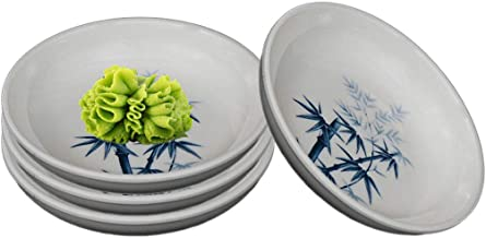 أطباق صلصة الميلامين HSWD-BB04 من هابي سيلز، أوعية غمس، مجموعة من 4 قطع (الخيزران الداكن)