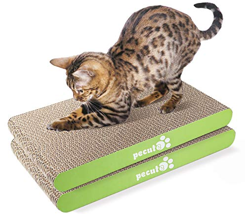 Pecute Rascador para Gatos con Hierba Gatera Alfombrillas de Cartón Rascador de Gato de Repuesto 2 Piezas