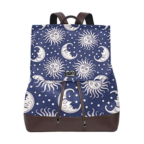Yuanmeiju Leather Backpack Rucksack Happy Pattern Sun Moon Star Daypack Bags for Girls Boys